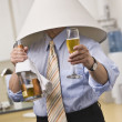 Male with Champagne Wearing Lampshade — Stock Photo #18773499