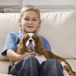 Cute Little Boy with Dog — Stock Photo #18778241