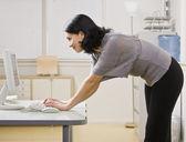 Woman Looking at Computer — Stock Photo
