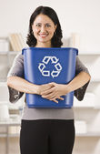 Woman Holding Recycling Basket — Stock Photo