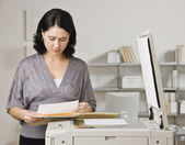 Woman Making Copies — Stock Photo