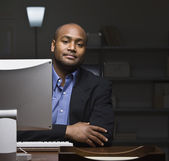 Man at Computer Desk — Stock Photo