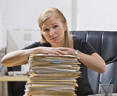 Woman with Paperwork — Stock Photo