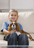 Cute Little Boy with Dog — Stock Photo