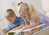 Young Children Coloring — Stock Photo