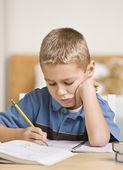 Boy Working on Homework — Stock Photo