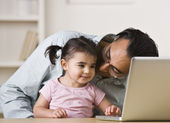 Father And Daughter Playing on Computer — Stock Photo