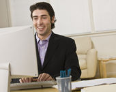 Businessman on Computer — Stock Photo