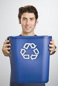 Man Holding Recycle Basket — Stock Photo