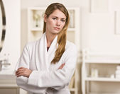 Attractive blonde in robe. — Stock Photo