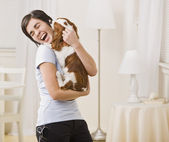 Woman Holding Dog — Stock Photo