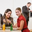 Businesswomen eating salad for lunch — Stock Photo