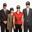 Business in blindfolds - Stock Photo