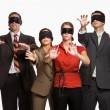 Business in blindfolds — Stock Photo