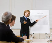 Businesswoman explaining chart — Stock Photo