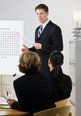 Businessman explaining chart — Stock Photo