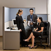 Co-workers talking in office cubicle — Stock Photo