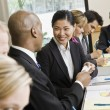 Businesswoman at Meeting Smiling — Stock Photo