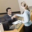 Businesswoman and Receptionist — Stock Photo