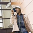 Stock Photo: Male Construction Worker Using Bullhorn
