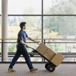 Young Man Moving Boxes - Stock Photo