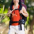 Smiling woman with backpack — Stock Photo #18802731