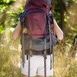 Woman with backpack hiking — Stock fotografie