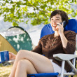 Camper talking on cell phone — Stock Photo