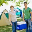 Stock Photo: Couple carrying cooler at campsite