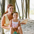 Mother and daughter with seashell — Stock Photo #18803531