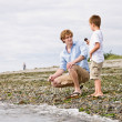 Father and son gathering rocks at beach — Stock Photo