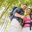 Stock Photo: Couple in backpacks looking at compass