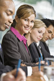 Businesswoman at Meeting Smiling — 图库照片