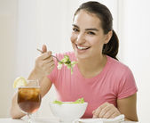 Young Woman Eating — Stock Photo