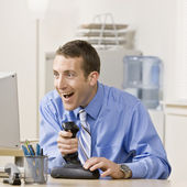 Young Businessman Playing Video Games — Stock Photo