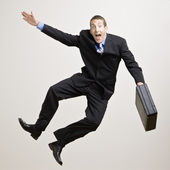 Businessman Clicking Heels — Stock Photo