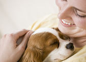 Young Woman Holding Dog — Stock Photo