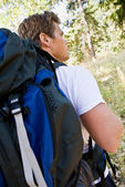Man hiking with backpack — Stock Photo