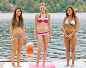 Vrienden in bikini permanent op pier — Stockfoto