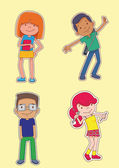 Young Students Cartoon — Vector de stock