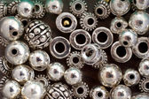 Silver Beads, Background — Stock Photo