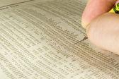 Marking the Stock Tables — Stockfoto