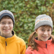 Kids in Ski Hats and Fuzzy Pullovers — Stock Photo