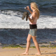 Woman Trying to Photograph Sea Turtles, North Shore, Oahu, Hawai — Stock Photo