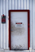 White Door with Danger Sign — Stock Photo