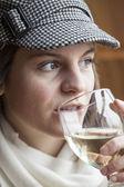 Beautiful Young Woman Drinking White Wine — Stock Photo