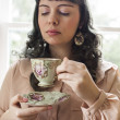 Young Woman with Antique Tea Cup — Stock Photo