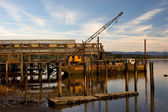 Net Shed and Floating Crane — Stock Photo