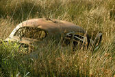 Wrecked Car, Field — Stock Photo