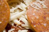 Macro Shot of Uncooked Pepperoni Pizza — Stock Photo